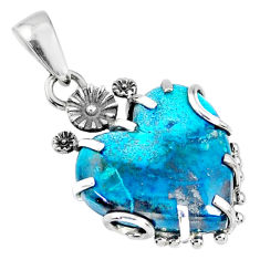 14.69cts natural blue shattuckite heart 925 sterling silver pendant r67587
