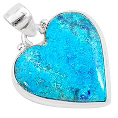 13.67cts natural blue shattuckite heart shape sterling silver pendant r95004
