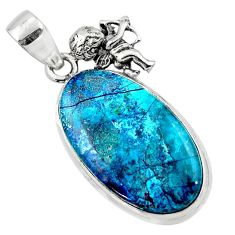 17.22cts natural blue shattuckite oval 925 sterling silver angel pendant r50445