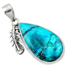 15.65cts natural blue shattuckite pear 925 silver deltoid leaf pendant r50426