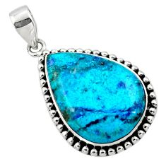 18.46cts natural blue shattuckite pear 925 sterling silver pendant r50465