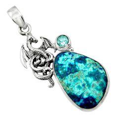 16.27cts natural blue shattuckite topaz 925 sterling silver snail pendant r44534