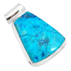17.57cts natural blue shattukite 925 sterling silver pendant jewelry t10633