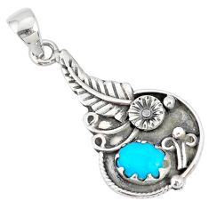 2.11cts natural blue sleeping beauty turquoise 925 silver flower pendant r77860