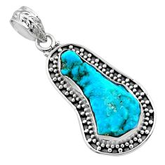 10.28cts natural blue sleeping beauty turquoise raw 925 silver pendant r66639