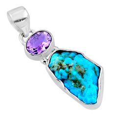 9.83cts natural blue sleeping beauty turquoise raw 925 silver pendant r66951