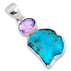 9.75cts natural blue sleeping beauty turquoise raw 925 silver pendant r66955