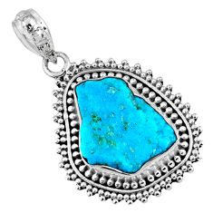 9.29cts natural blue sleeping beauty turquoise rough 925 silver pendant r62252