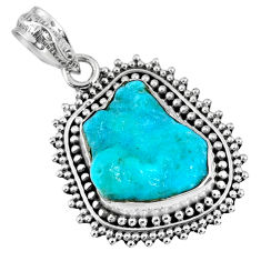 9.54cts natural blue sleeping beauty turquoise rough 925 silver pendant r62261