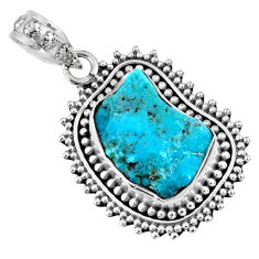 8.80cts natural blue sleeping beauty turquoise rough 925 silver pendant r62272