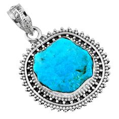 9.29cts natural blue sleeping beauty turquoise rough 925 silver pendant r62274