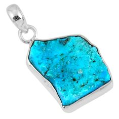 11.11cts natural blue sleeping beauty turquoise rough 925 silver pendant r62306