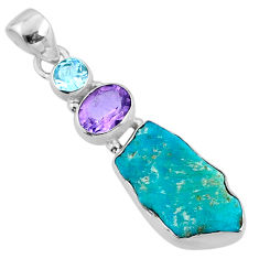 9.83cts natural blue sleeping beauty turquoise raw 925 silver pendant r66881