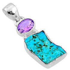 8.56cts natural blue sleeping beauty turquoise raw 925 silver pendant r66884