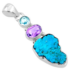 11.25cts natural blue sleeping beauty turquoise raw 925 silver pendant r66892