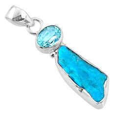 8.86cts natural blue sleeping beauty turquoise raw 925 silver pendant r66899