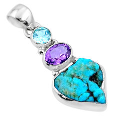 9.16cts natural blue sleeping beauty turquoise raw 925 silver pendant r66901