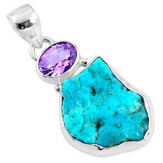 11.69cts natural blue sleeping beauty turquoise raw 925 silver pendant r66906