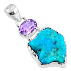12.62cts natural blue sleeping beauty turquoise raw 925 silver pendant r66911
