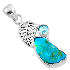 7.67cts natural blue sleeping beauty turquoise raw 925 silver pendant r66924