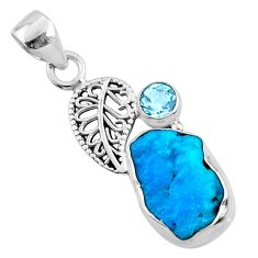 7.24cts natural blue sleeping beauty turquoise raw 925 silver pendant r66927