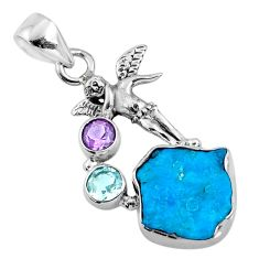 8.44cts natural blue sleeping beauty turquoise raw 925 silver pendant r66936