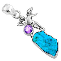 8.49cts natural blue sleeping beauty turquoise raw 925 silver pendant r66939