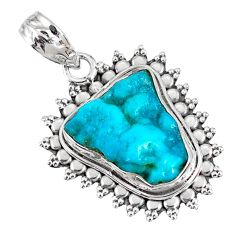 9.80cts natural blue sleeping beauty turquoise raw 925 silver pendant r76471