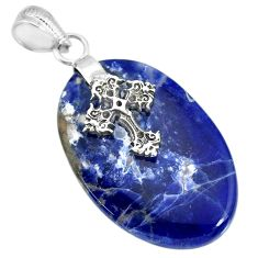 23.74cts natural blue sodalite 925 sterling silver holy cross pendant r91339
