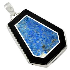 Clearance Sale- 46.54cts natural blue sodalite 925 sterling silver pendant jewelry d42787