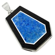 47.85cts natural blue sodalite 925 sterling silver pendant jewelry d42790