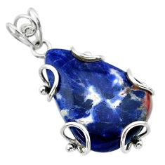 19.60cts natural blue sodalite 925 sterling silver pendant jewelry t31821