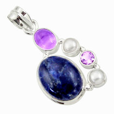15.85cts natural blue sodalite amethyst pearl 925 sterling silver pendant d44688