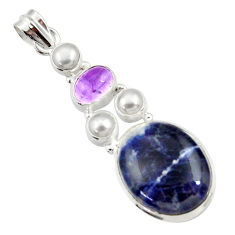 17.40cts natural blue sodalite amethyst pearl 925 sterling silver pendant d44695