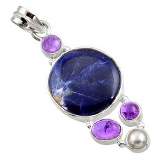 18.15cts natural blue sodalite amethyst pearl 925 sterling silver pendant d44797