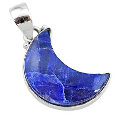 8.68cts natural blue sodalite fancy 925 sterling silver moon pendant t21948