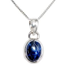 4.04cts natural blue star sapphire 925 sterling silver 18' chain pendant r36403