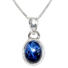 4.19cts natural blue star sapphire 925 sterling silver 18' chain pendant r36426