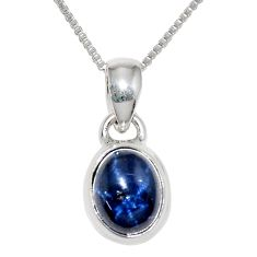 4.02cts natural blue star sapphire 925 sterling silver 18' chain pendant r36432