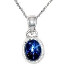 3.86cts natural blue star sapphire 925 sterling silver 18' chain pendant r36436