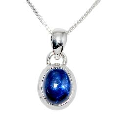 4.20cts natural blue star sapphire 925 sterling silver 18' chain pendant r36439