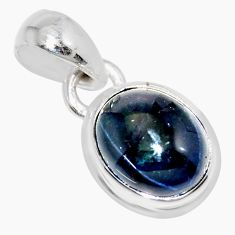 4.24cts natural blue star sapphire 925 sterling silver pendant jewelry r36473
