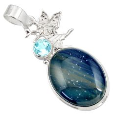 Clearance Sale- 20.07cts natural blue swedish slag 925 silver angel wings fairy pendant d42058