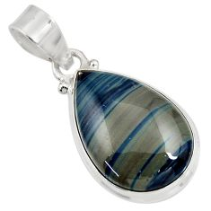 Clearance Sale- 13.70cts natural blue swedish slag 925 sterling silver pendant jewelry d39378