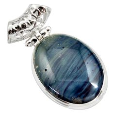 Clearance Sale- 18.68cts natural blue swedish slag 925 sterling silver pendant jewelry d42044