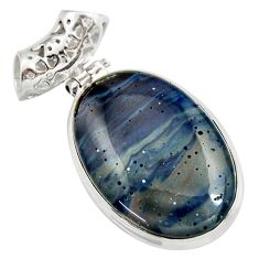 Clearance Sale- 20.07cts natural blue swedish slag 925 sterling silver pendant jewelry d42046