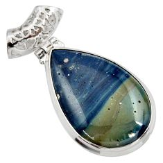 Clearance Sale- 22.05cts natural blue swedish slag 925 sterling silver pendant jewelry d42048