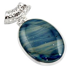 19.68cts natural blue swedish slag 925 sterling silver pendant jewelry d42049
