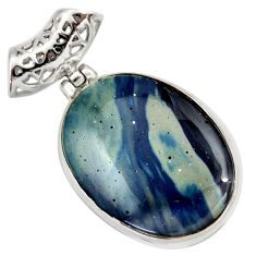 Clearance Sale- 17.57cts natural blue swedish slag 925 sterling silver pendant jewelry d42051