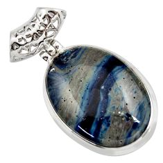 22.59cts natural blue swedish slag 925 sterling silver pendant jewelry d42055